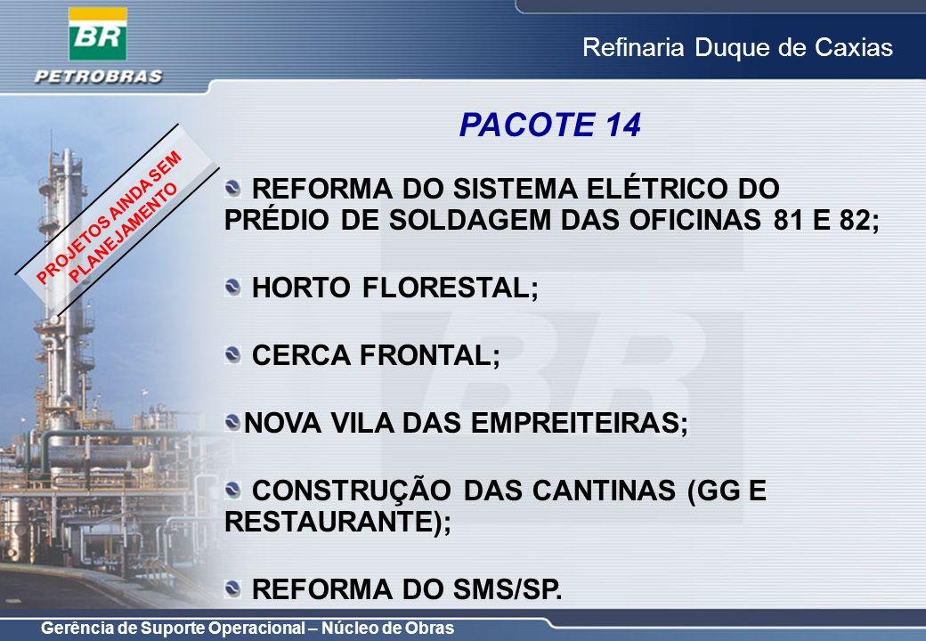 Gerência de Suporte Operacional – Núcleo de Obras Refinaria Duque de Caxias REFORMA DO SISTEMA ELÉTRICO DO PRÉDIO DE SOLDAGEM DAS OFICINAS 81 E 82; HO
