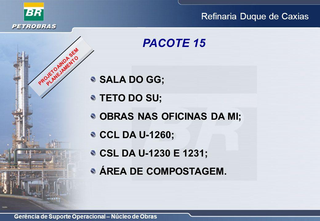 Gerência de Suporte Operacional – Núcleo de Obras Refinaria Duque de Caxias PACOTE 15 SALA DO GG; TETO DO SU; OBRAS NAS OFICINAS DA MI; CCL DA U-1260;