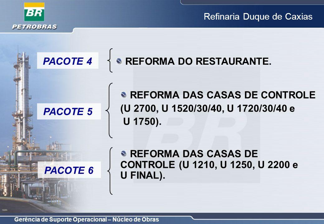 Gerência de Suporte Operacional – Núcleo de Obras Refinaria Duque de Caxias OBJETIVO: MELHORAR SEGURANÇA PATRIMONIAL; COORDENAÇÃO: LUIZ CARLOS RIBEIRO; PROJETO CONCEITUAL: CONCLUÍDO; PROJETO BÁSICO: CONCLUÍDO; PROJETO DETALHADO: PREVISTO PARA 30/11/2006; AQUISIÇÃO DE MATERIAIS E EQUIPAMENTOS: RECEBIDO NO EPC; INSTALAÇÃO DO CFTV (TODOS OS EQUIPAMENTOS) PACOTE 8
