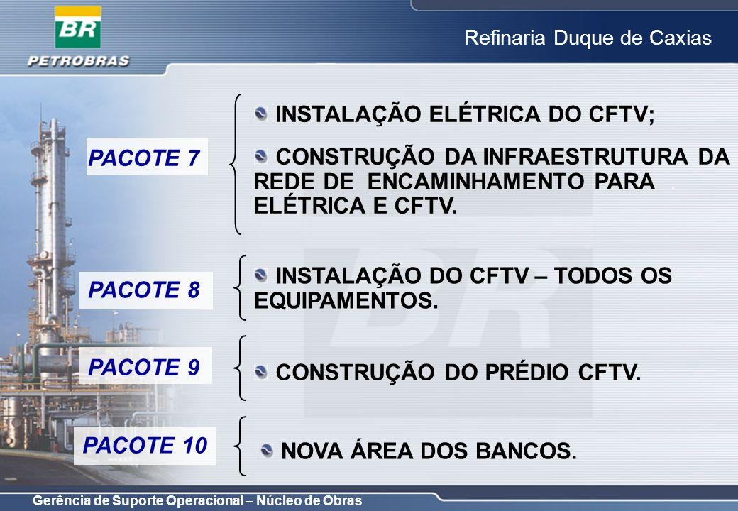 Gerência de Suporte Operacional – Núcleo de Obras Refinaria Duque de Caxias OBJETIVO: MELHORAR SEGURANÇA PATRIMONIAL; COORDENAÇÃO: CARLOS ALBERTO / LUIZ MENEZES; INÍCIO DA OBRA: 06/02/2006; PRAZO FINAL DA OBRA: 05/06/2007; PATROCINADOR: GAPRE; CLIENTE: REDUC.
