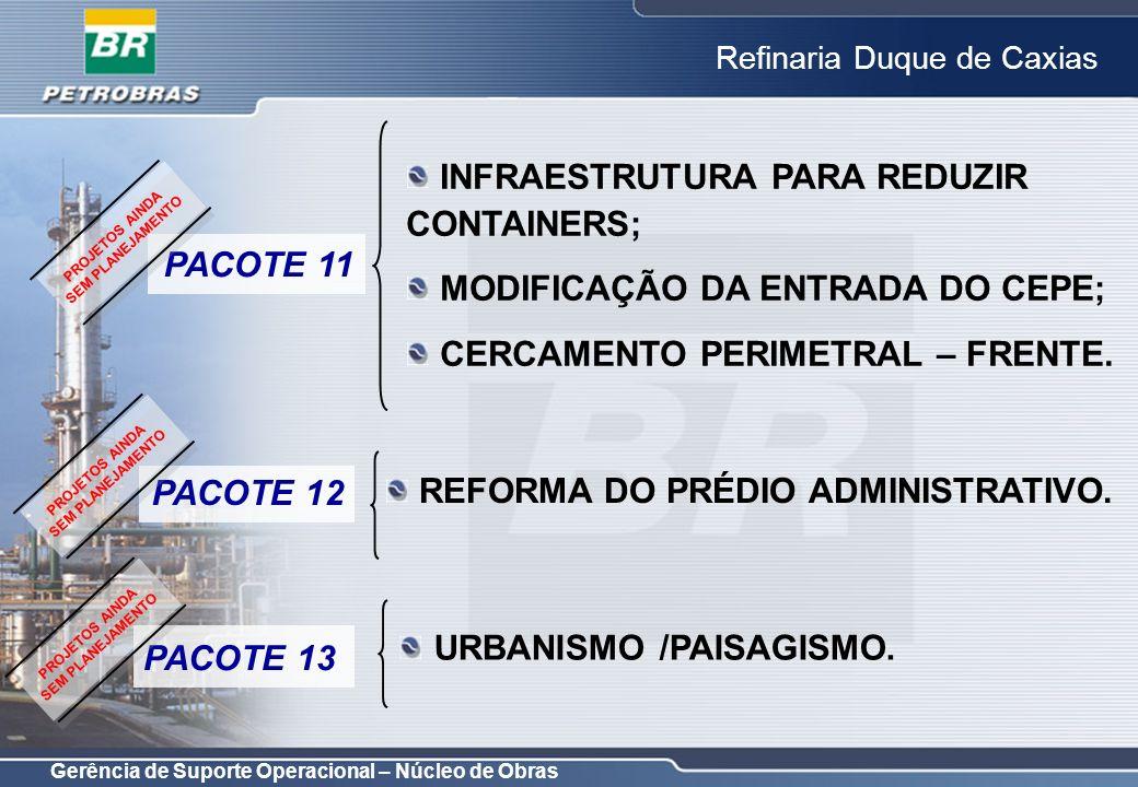 Gerência de Suporte Operacional – Núcleo de Obras Refinaria Duque de Caxias PACOTE 14 PDP (PLANO DIRETOR DE PRÉDIOS); INFRAESTRUTURA PARA COMPOSTAGEM; REVISÃO DOS ESTACIONAMENTOS INTERNOS; PROTEÇÃO DE VÁLVULAS NA RESERVAÇÃO; REPAROS CONSTRUÇÃO CIVIL/BARRAGEM SARACURUNA; REFORMA DO SISTEMA ELÉTRICO DO PRÉDIO DE SOLDAGEM DAS OFICINAS 81 E 82; HORTO FLORESTAL.