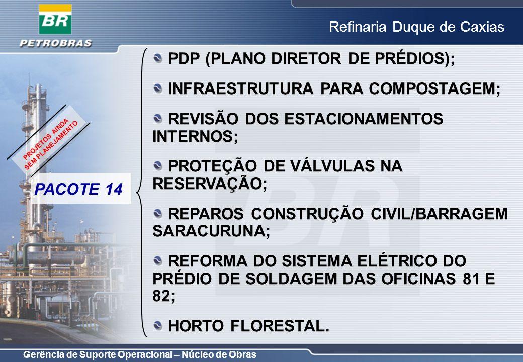 Gerência de Suporte Operacional – Núcleo de Obras Refinaria Duque de Caxias OBJETIVO: CONSTRUÇÃO DA NOVA ÁREA BANCÁRIA PARA TRANSFERÊNCIA DOS BANCOS LOCALIZADOS NO PRÉDIO ADMINISTRATIVO; COORDENAÇÃO: LUIZ CARLOS RIBEIRO; PROJETO CONCEITUAL: NÃO APLICÁVEL; PROJETO BÁSICO: NÃO APLICÁVEL; DESMONTAGEM DO GALPÃO DA SEGURANÇA PATRIMONIAL NA NOVA PRAÇA DE BANCOS PACOTE 2