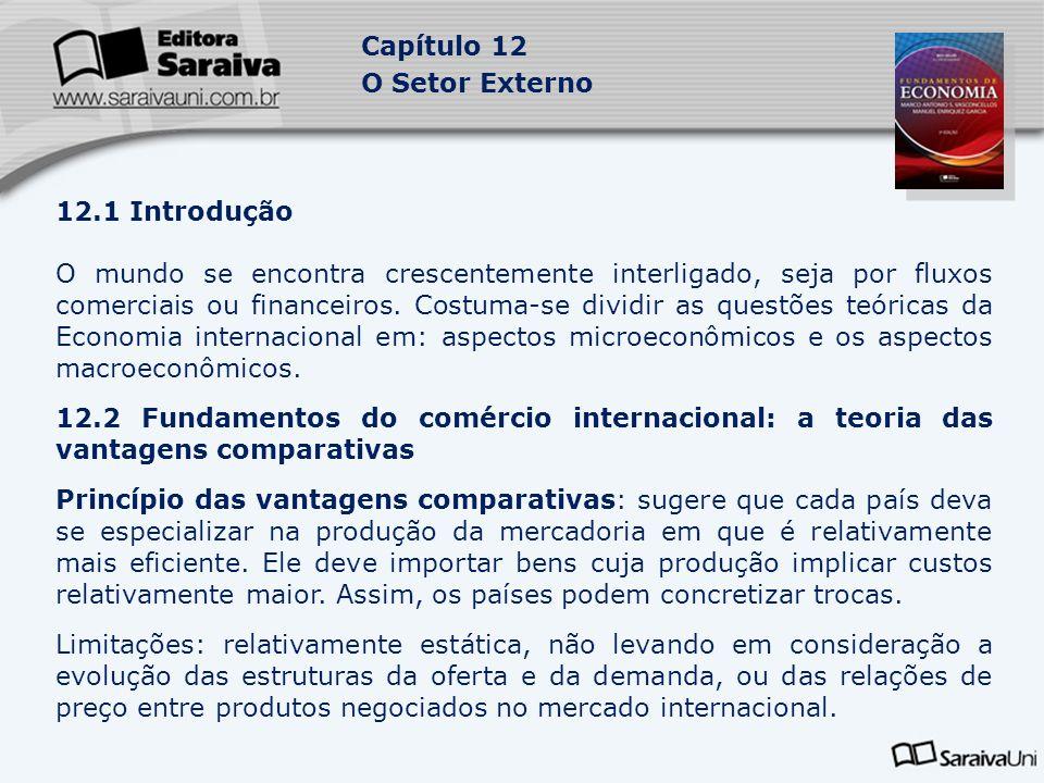 Capítulo 12 O Setor Externo 12.1 Introdução O mundo se encontra crescentemente interligado, seja por fluxos comerciais ou financeiros. Costuma-se divi