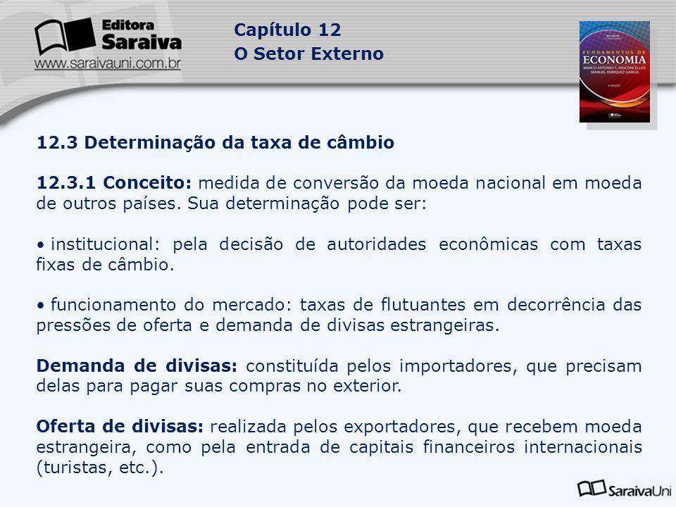 Capítulo 12 O Setor Externo 12.3 Determinação da taxa de câmbio 12.3.1 Conceito: medida de conversão da moeda nacional em moeda de outros países. Sua