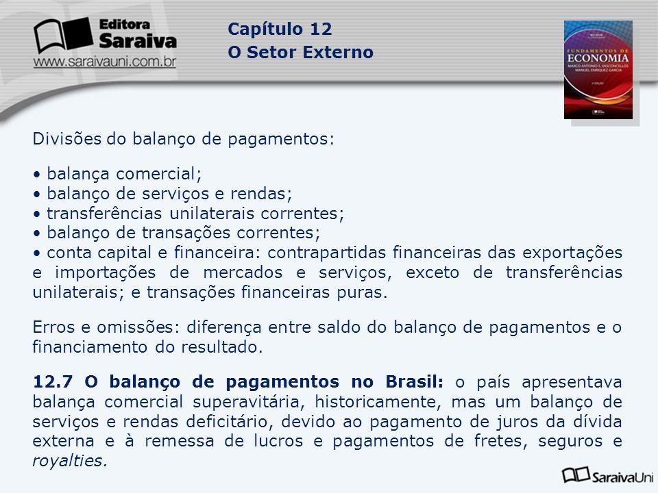 Capítulo 12 O Setor Externo Divisões do balanço de pagamentos: balança comercial; balanço de serviços e rendas; transferências unilaterais correntes;