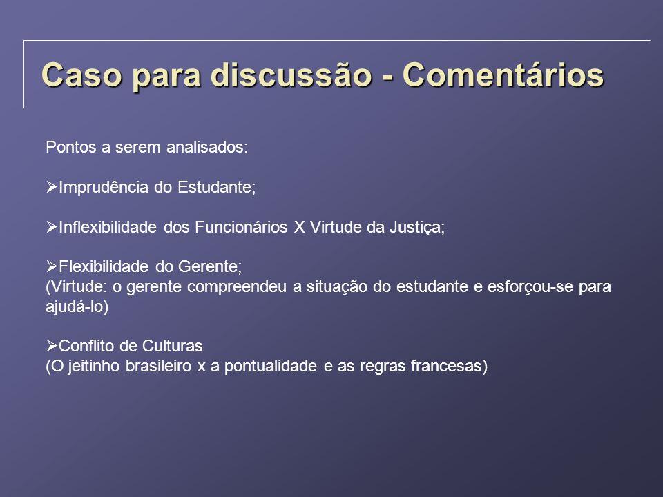 Caso para discussão - Comentários Pontos a serem analisados: Imprudência do Estudante; Inflexibilidade dos Funcionários X Virtude da Justiça; Flexibil