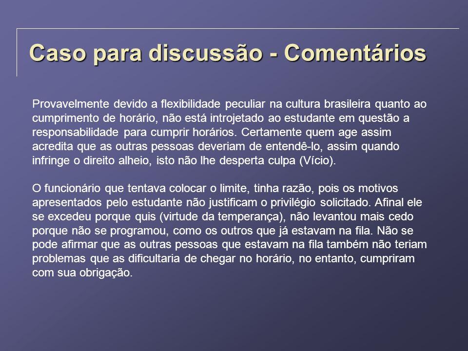 Caso para discussão - Comentários Provavelmente devido a flexibilidade peculiar na cultura brasileira quanto ao cumprimento de horário, não está intro