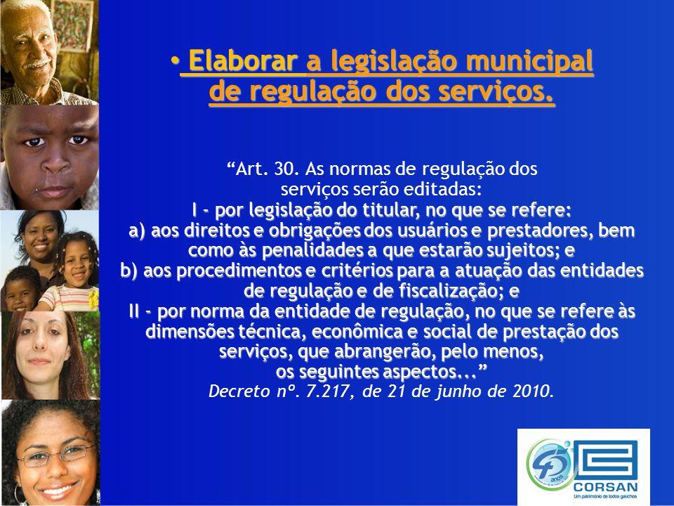 Elaborar a legislação municipal Elaborar a legislação municipal de regulação dos serviços.