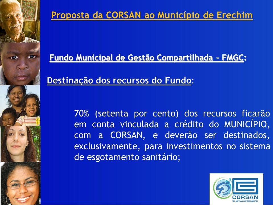 Proposta da CORSAN ao Município de Erechim Fundo Municipal de Gestão Compartilhada – FMGC: Destinação dos recursos do Fundo: 70% (setenta por cento) dos recursos ficarão em conta vinculada a crédito do MUNICÍPIO, com a CORSAN, e deverão ser destinados, exclusivamente, para investimentos no sistema de esgotamento sanitário;