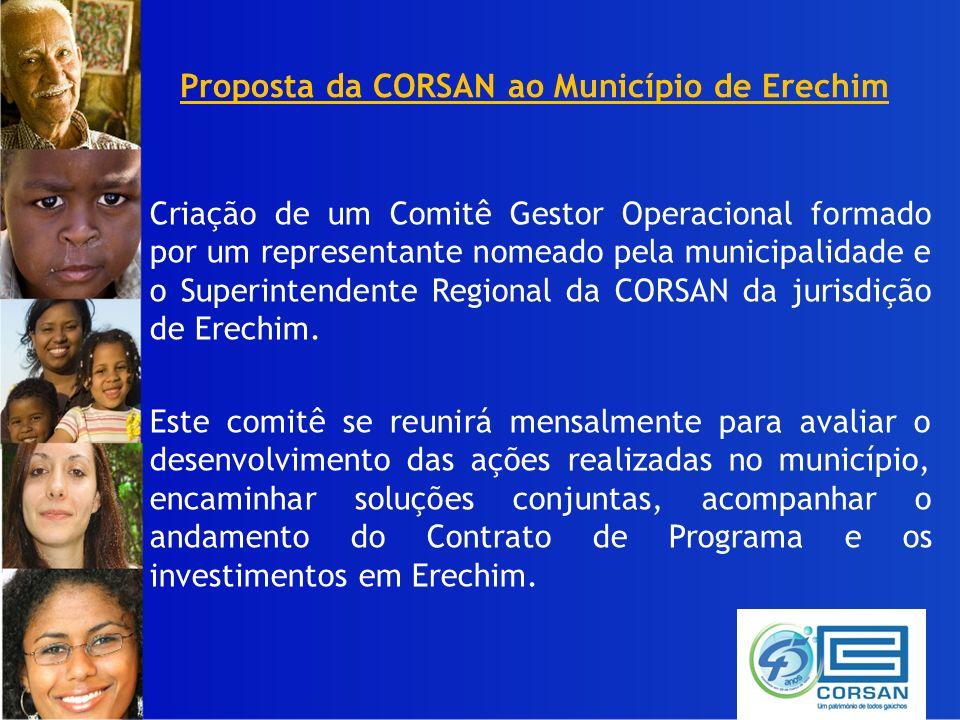 Proposta da CORSAN ao Município de Erechim Criação de um Comitê Gestor Operacional formado por um representante nomeado pela municipalidade e o Superintendente Regional da CORSAN da jurisdição de Erechim.