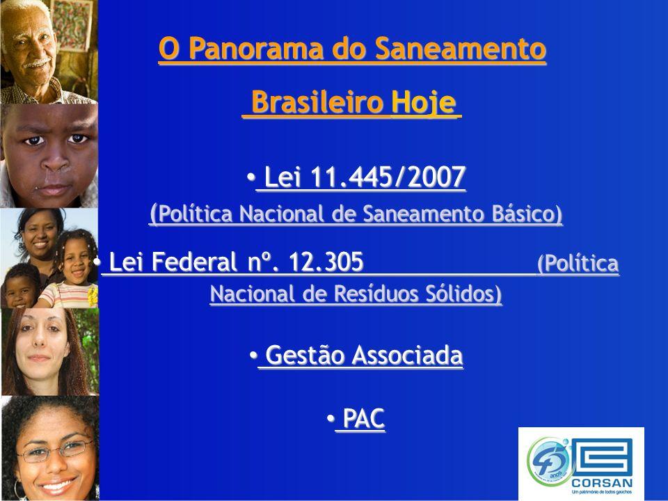 O Panorama do Saneamento Brasileiro Hoje Brasileiro Hoje Lei 11.445/2007 Lei 11.445/2007 ( Política Nacional de Saneamento Básico) Lei Federal nº.