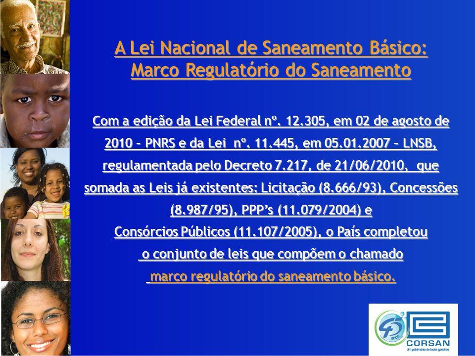 A Lei Nacional de Saneamento Básico: Marco Regulatório do Saneamento Com a edição da Lei Federal nº.