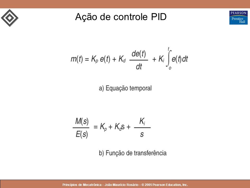 © 2005 by Pearson Education Princípios de Mecatrônica – João Maurício Rosário – © 2005 Pearson Education, Inc. Ação de controle PID