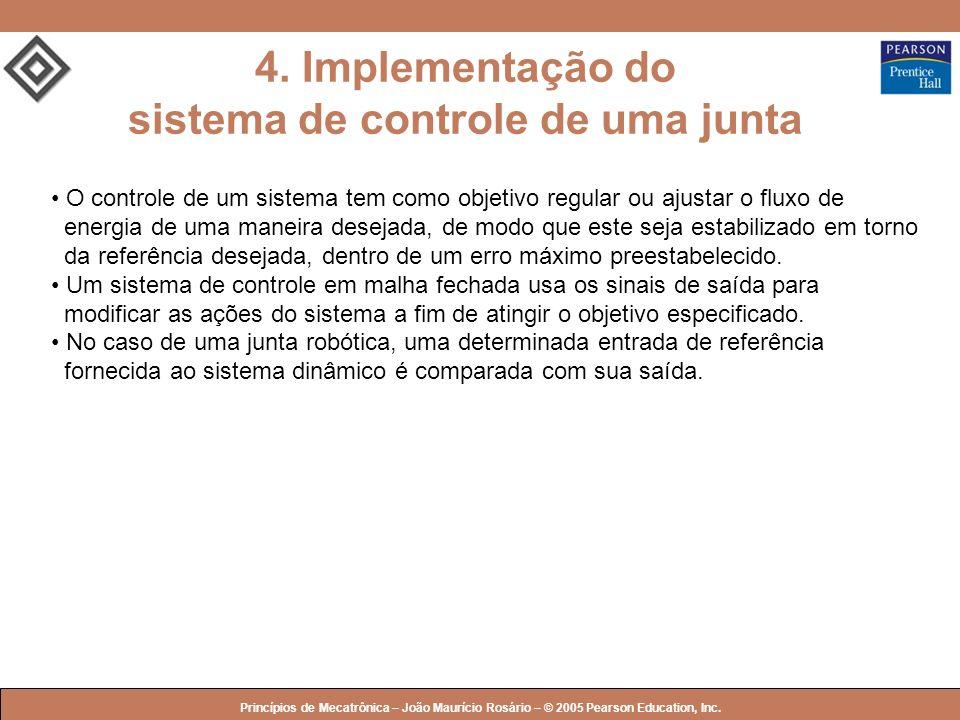 © 2005 by Pearson Education Princípios de Mecatrônica – João Maurício Rosário – © 2005 Pearson Education, Inc. 4. Implementação do sistema de controle