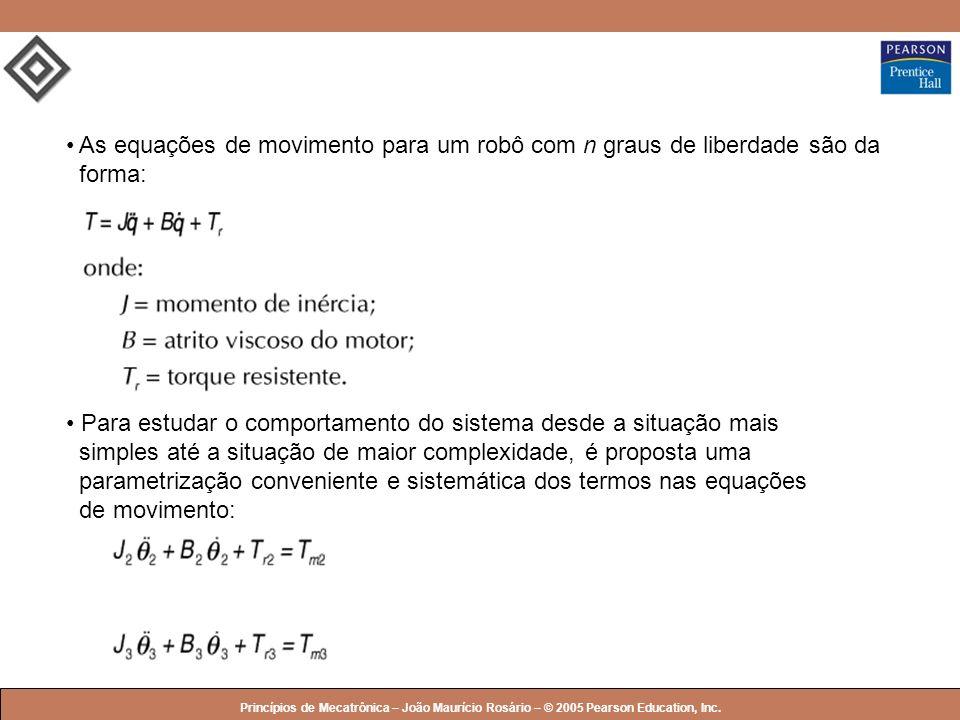© 2005 by Pearson Education Princípios de Mecatrônica – João Maurício Rosário – © 2005 Pearson Education, Inc. As equações de movimento para um robô c