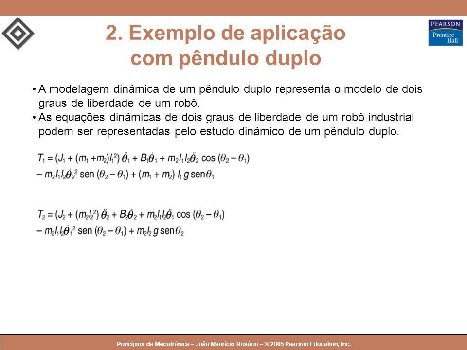 © 2005 by Pearson Education Princípios de Mecatrônica – João Maurício Rosário – © 2005 Pearson Education, Inc. 2. Exemplo de aplicação com pêndulo dup