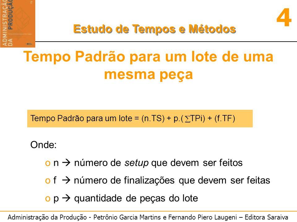 Administração da Produção - Petrônio Garcia Martins e Fernando Piero Laugeni – Editora Saraiva 4 Estudo de Tempos e Métodos Tempo Padrão para um lote