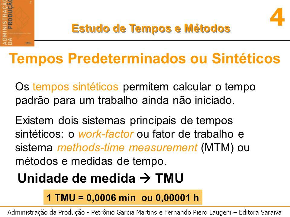 Administração da Produção - Petrônio Garcia Martins e Fernando Piero Laugeni – Editora Saraiva 4 Estudo de Tempos e Métodos Tempos Predeterminados ou