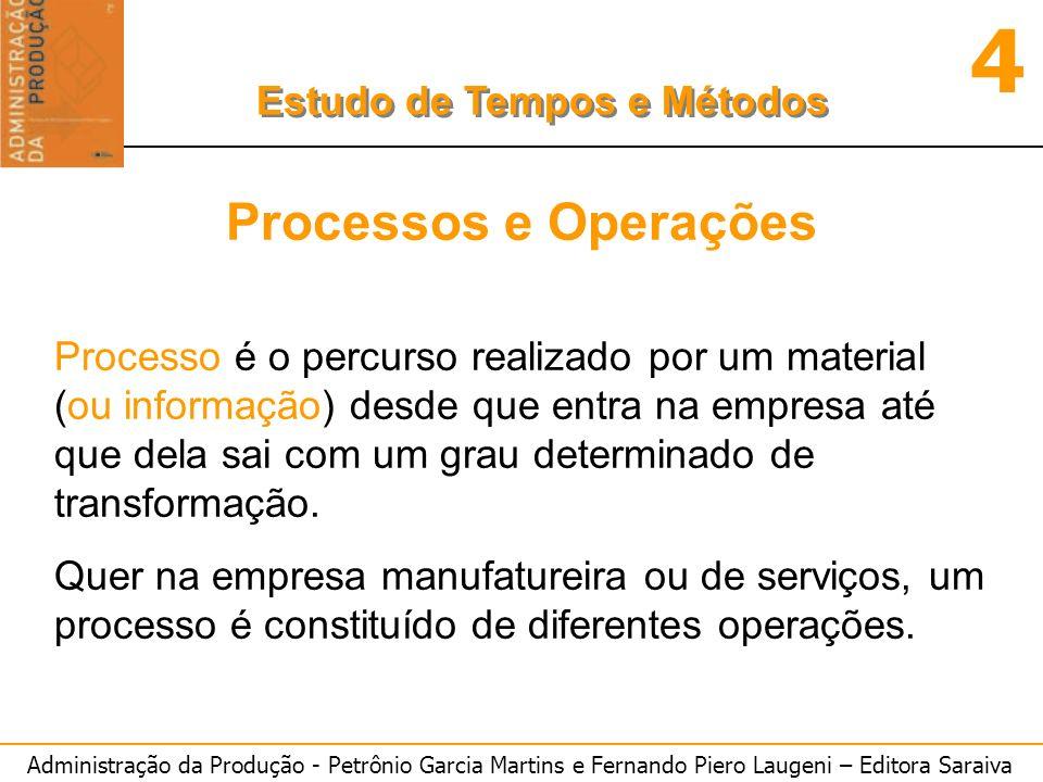 Administração da Produção - Petrônio Garcia Martins e Fernando Piero Laugeni – Editora Saraiva 4 Estudo de Tempos e Métodos Processos e Operações Proc