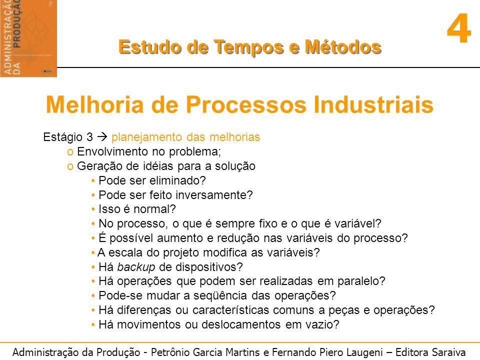 Administração da Produção - Petrônio Garcia Martins e Fernando Piero Laugeni – Editora Saraiva 4 Estudo de Tempos e Métodos Melhoria de Processos Indu