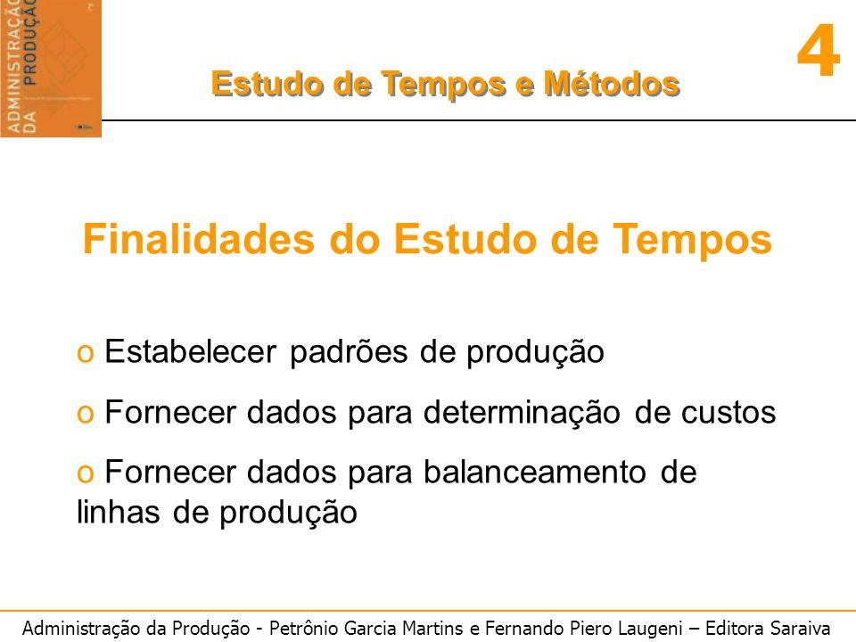 Administração da Produção - Petrônio Garcia Martins e Fernando Piero Laugeni – Editora Saraiva 4 Estudo de Tempos e Métodos Finalidades do Estudo de T