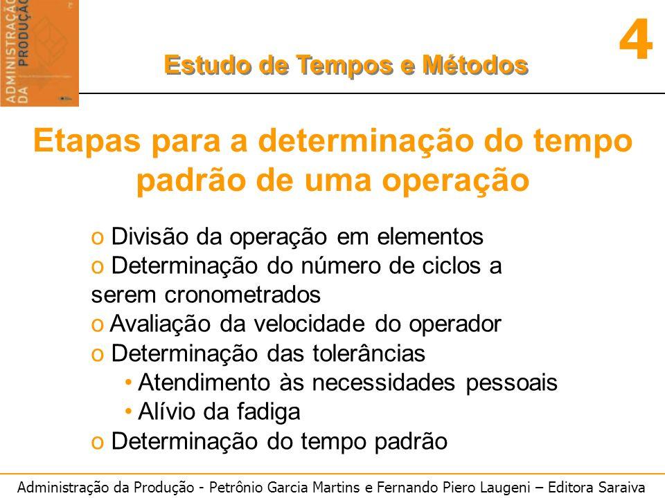 Administração da Produção - Petrônio Garcia Martins e Fernando Piero Laugeni – Editora Saraiva 4 Estudo de Tempos e Métodos Etapas para a determinação