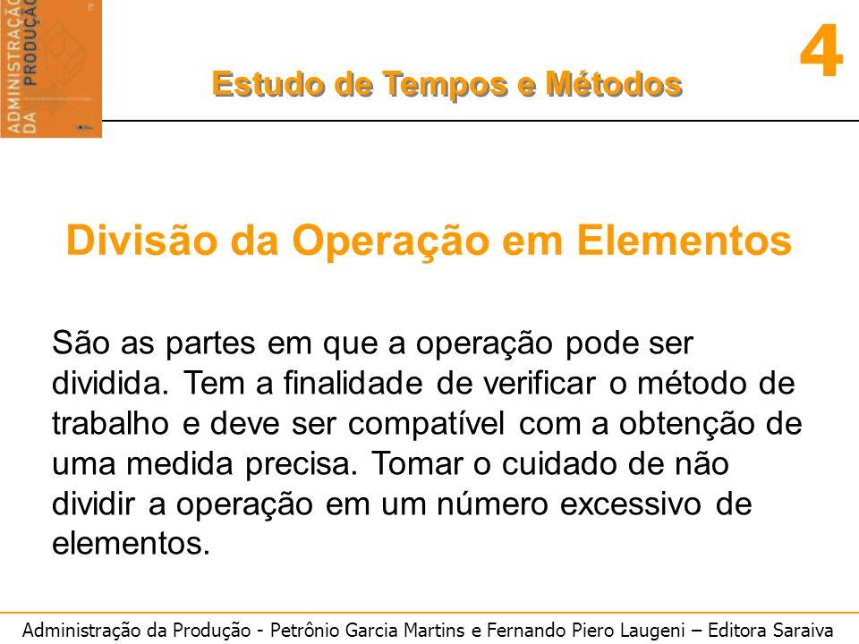 Administração da Produção - Petrônio Garcia Martins e Fernando Piero Laugeni – Editora Saraiva 4 Estudo de Tempos e Métodos Número de ciclos a serem cronometrados n = ---------------- z.