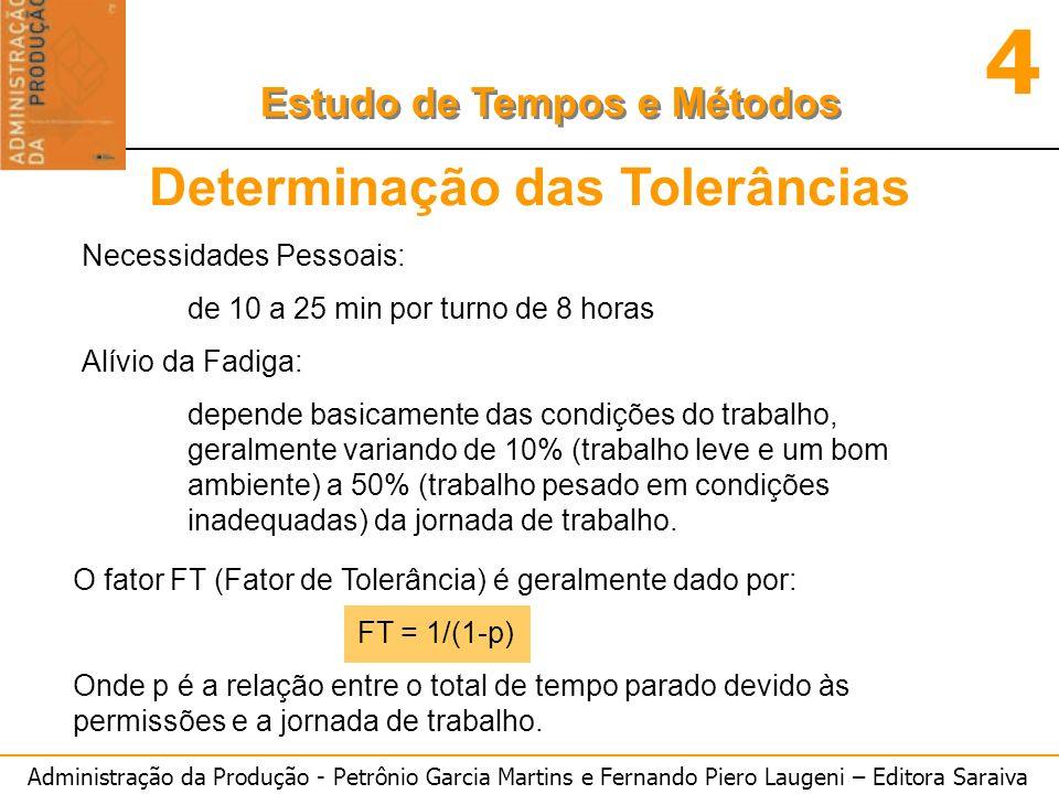 Administração da Produção - Petrônio Garcia Martins e Fernando Piero Laugeni – Editora Saraiva 4 Estudo de Tempos e Métodos Determinação do Tempo Padrão Uma vez obtidas as n cronometragens válidas, deve-se: o Calcular a média da n cronometragens, obtendo-se Tempo Cronometrado (TC); o Calcular o Tempo Normal (TN): TN = TC x V o Calcular o Tempo Padrão (TP) TP = TN x FT
