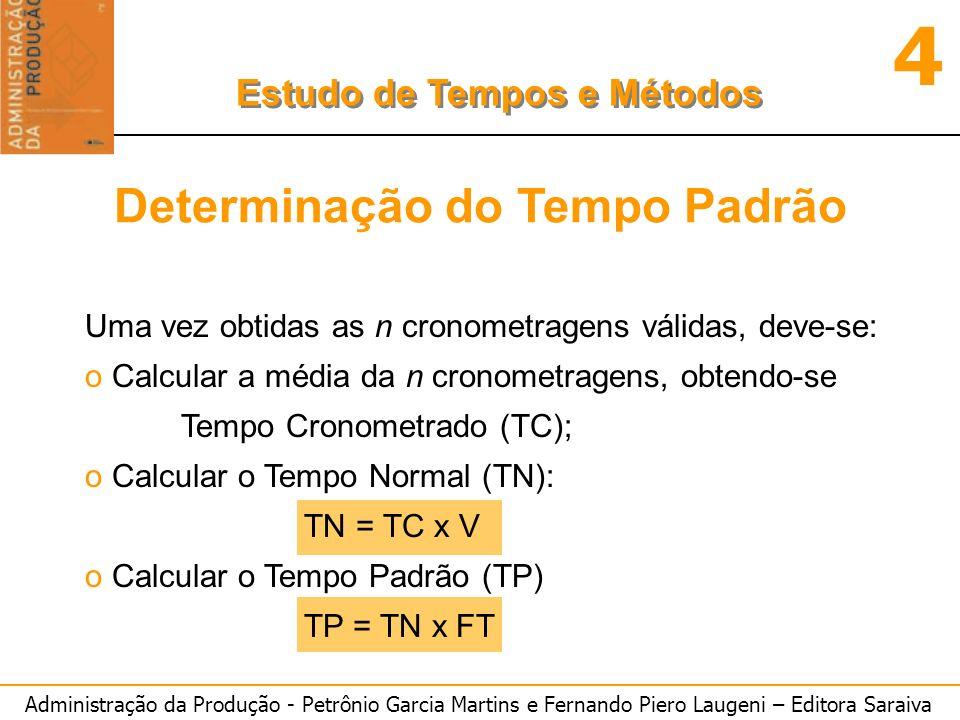 Administração da Produção - Petrônio Garcia Martins e Fernando Piero Laugeni – Editora Saraiva 4 Estudo de Tempos e Métodos Determinação do Tempo Padr