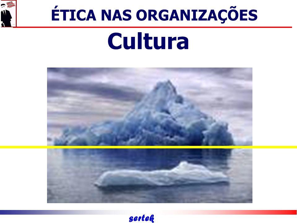 sertek Crenças básicas Pressupostos básicos valores Comportamentos observáveis objetos DESENVOLVIMENTO DAS QUALIDADES PESSOAIS Cultura ÉTICA NAS ORGANIZAÇÕES
