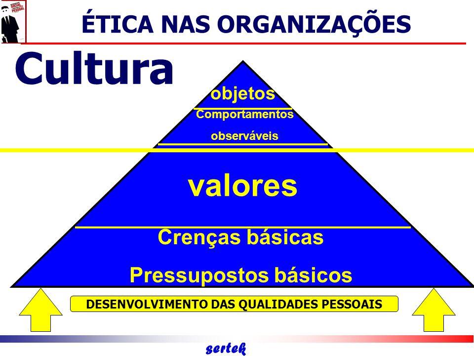 sertek Meta-competências/virtudes Competências Estratégicas Competências Intratégicas Competências de Eficácia Pessoal ÉTICA NAS ORGANIZAÇÕES