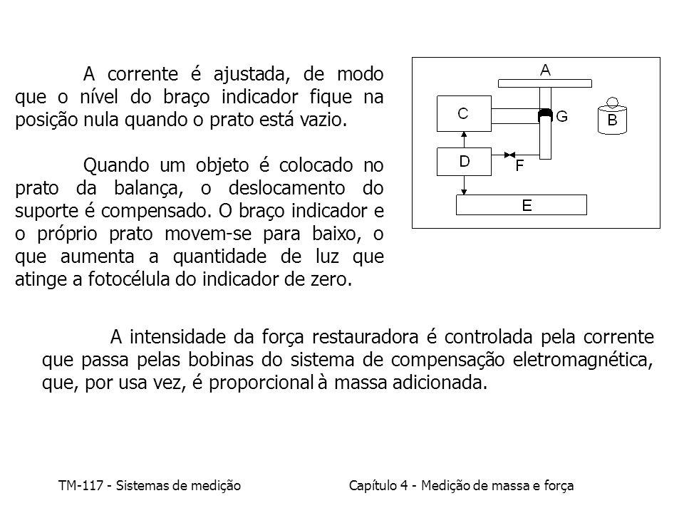 TM-117 - Sistemas de mediçãoCapítulo 4 - Medição de massa e força A corrente é ajustada, de modo que o nível do braço indicador fique na posição nula