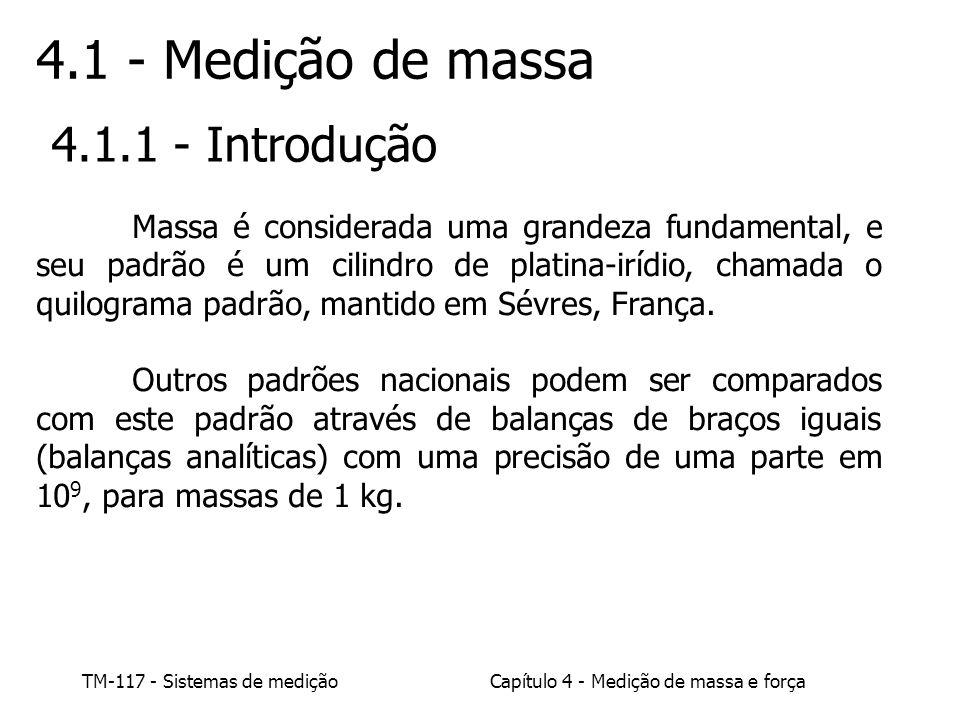 TM-117 - Sistemas de mediçãoCapítulo 4 - Medição de massa e força 4.1 - Medição de massa 4.1.1 - Introdução Massa é considerada uma grandeza fundament