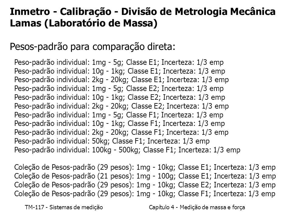 TM-117 - Sistemas de mediçãoCapítulo 4 - Medição de massa e força Peso-padrão individual: 1mg - 5g; Classe E1; Incerteza: 1/3 emp Peso-padrão individu