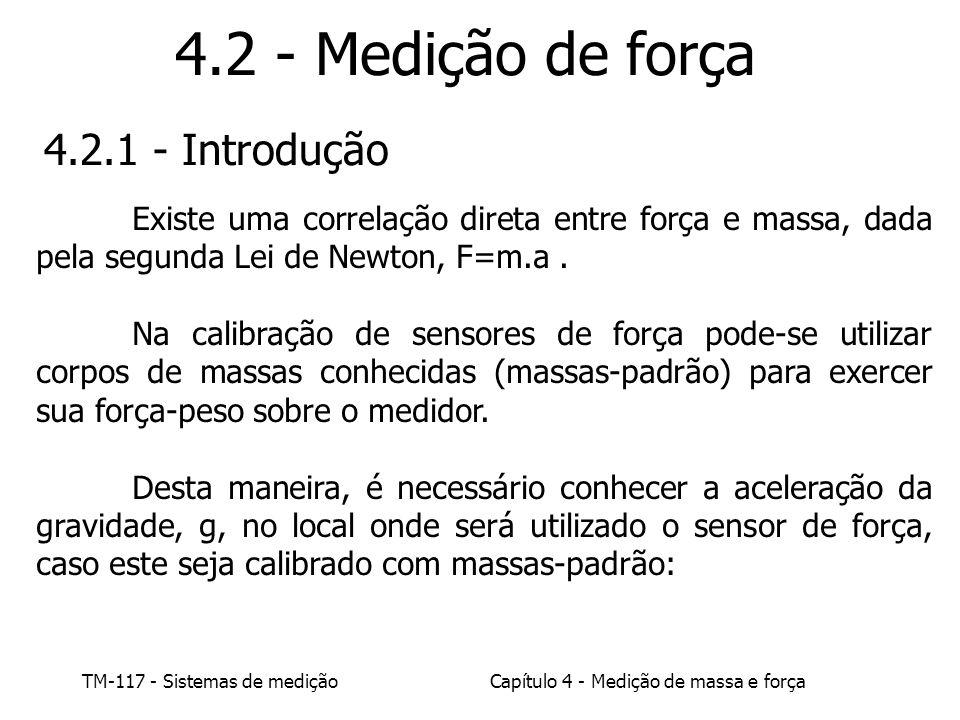 TM-117 - Sistemas de mediçãoCapítulo 4 - Medição de massa e força 4.2 - Medição de força 4.2.1 - Introdução Existe uma correlação direta entre força e