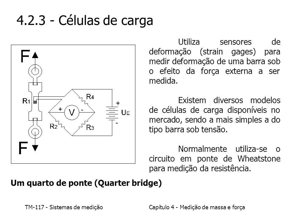 TM-117 - Sistemas de mediçãoCapítulo 4 - Medição de massa e força 4.2.3 - Células de carga Utiliza sensores de deformação (strain gages) para medir de