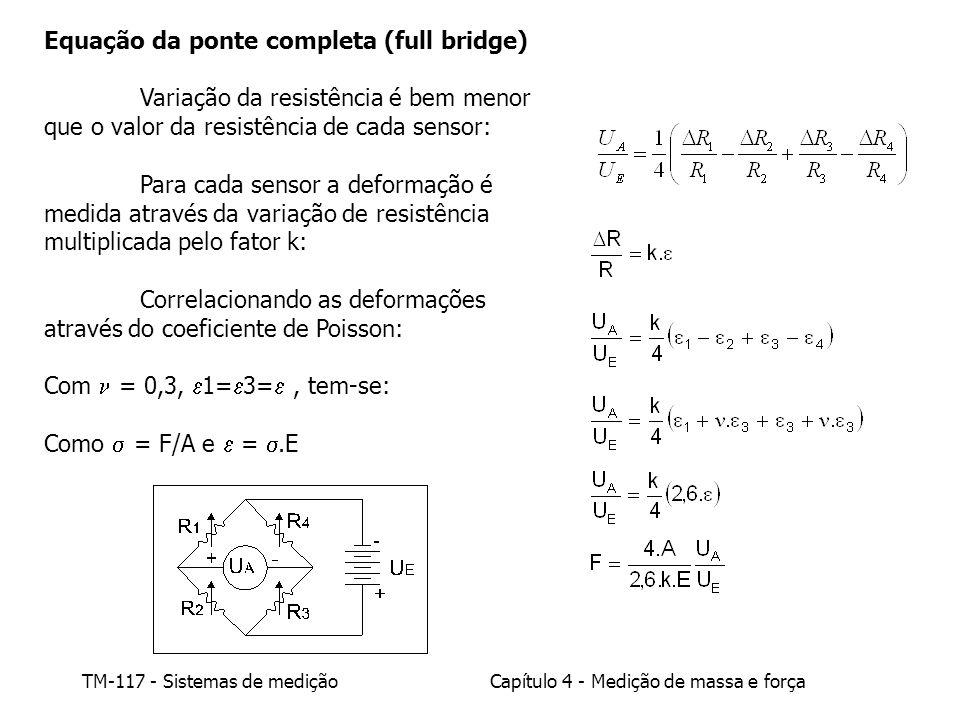 TM-117 - Sistemas de mediçãoCapítulo 4 - Medição de massa e força Equação da ponte completa (full bridge) Variação da resistência é bem menor que o va