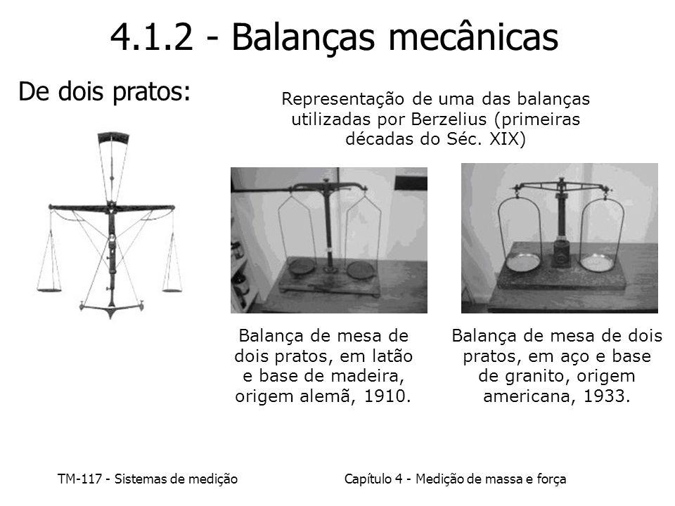 TM-117 - Sistemas de mediçãoCapítulo 4 - Medição de massa e força Balança de mesa de dois pratos, em latão e base de madeira, origem alemã, 1910. Bala