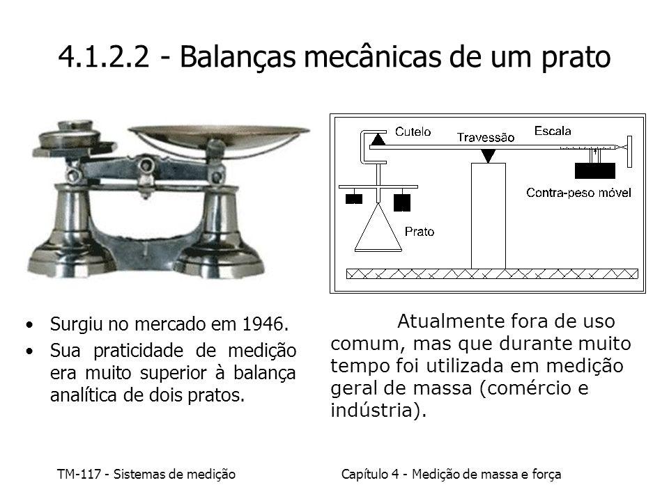TM-117 - Sistemas de mediçãoCapítulo 4 - Medição de massa e força Atualmente fora de uso comum, mas que durante muito tempo foi utilizada em medição g