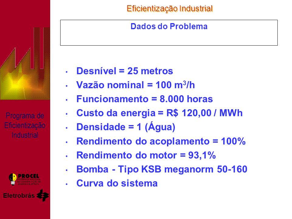 Eficientização Industrial Eletrobrás PROGRAMA NACIONAL DE CONSERVAÇÃO DE ENERGIA ELÉTRICA Programa de Eficientização Industrial Dados do Problema Desnível = 25 metros Vazão nominal = 100 m 3 /h Funcionamento = 8.000 horas Custo da energia = R$ 120,00 / MWh Densidade = 1 (Água) Rendimento do acoplamento = 100% Rendimento do motor = 93,1% Bomba - Tipo KSB meganorm 50-160 Curva do sistema