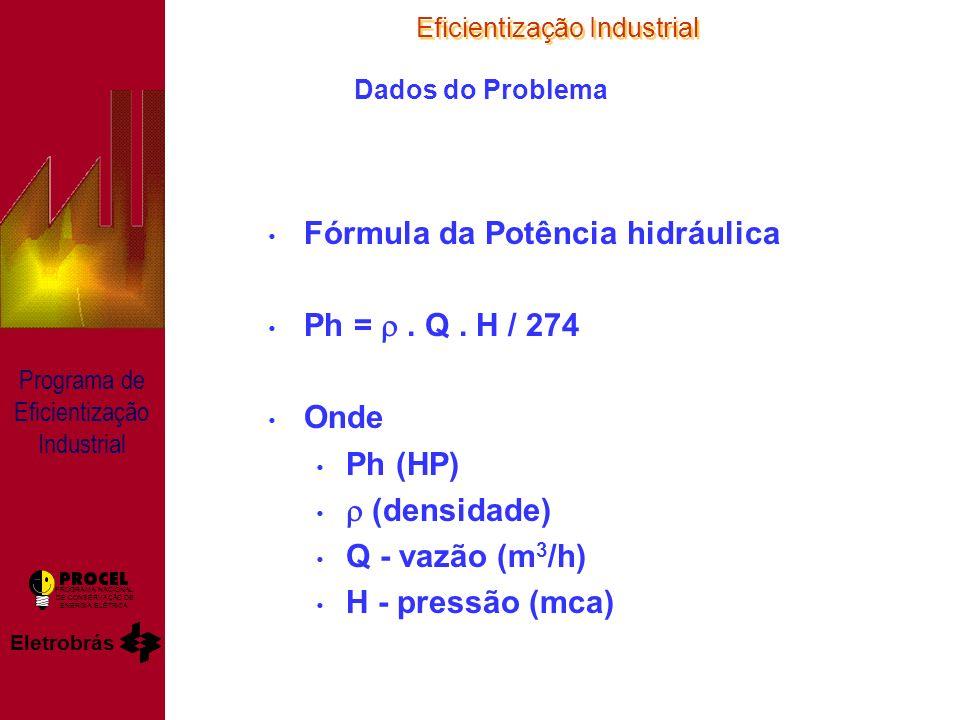Eficientização Industrial Eletrobrás PROGRAMA NACIONAL DE CONSERVAÇÃO DE ENERGIA ELÉTRICA Programa de Eficientização Industrial Dados do Problema Fórmula da Potência hidráulica Ph =.