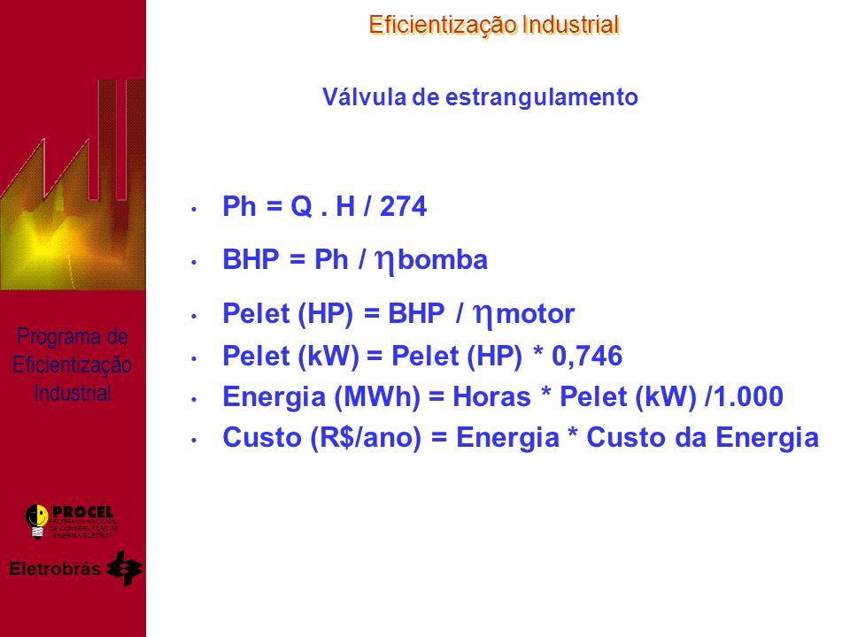 Eficientização Industrial Eletrobrás PROGRAMA NACIONAL DE CONSERVAÇÃO DE ENERGIA ELÉTRICA Programa de Eficientização Industrial Válvula de estrangulamento Ph = Q.