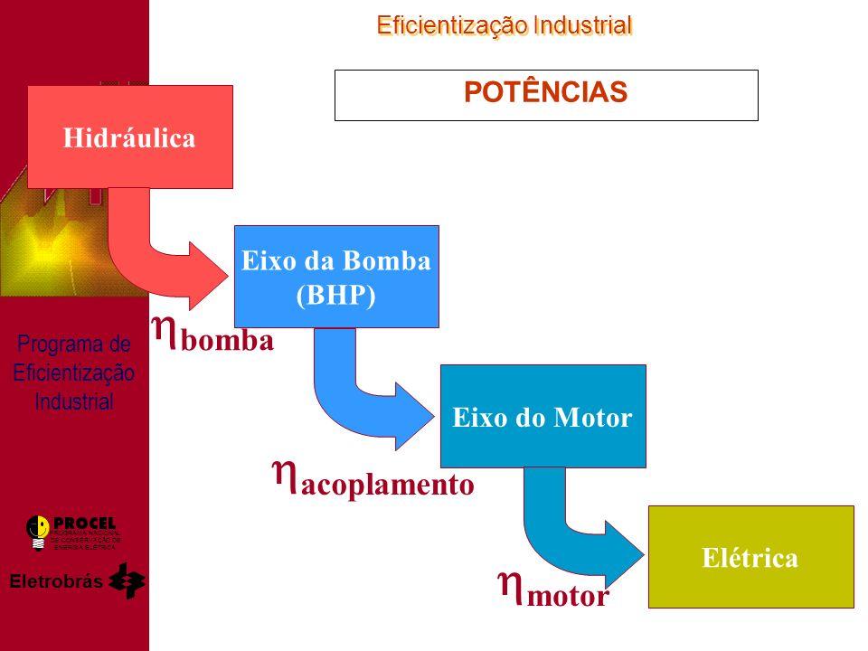 Eficientização Industrial Eletrobrás PROGRAMA NACIONAL DE CONSERVAÇÃO DE ENERGIA ELÉTRICA Programa de Eficientização Industrial POTÊNCIAS Hidráulica Eixo da Bomba (BHP) Eixo do Motor Elétrica bomba acoplamento motor