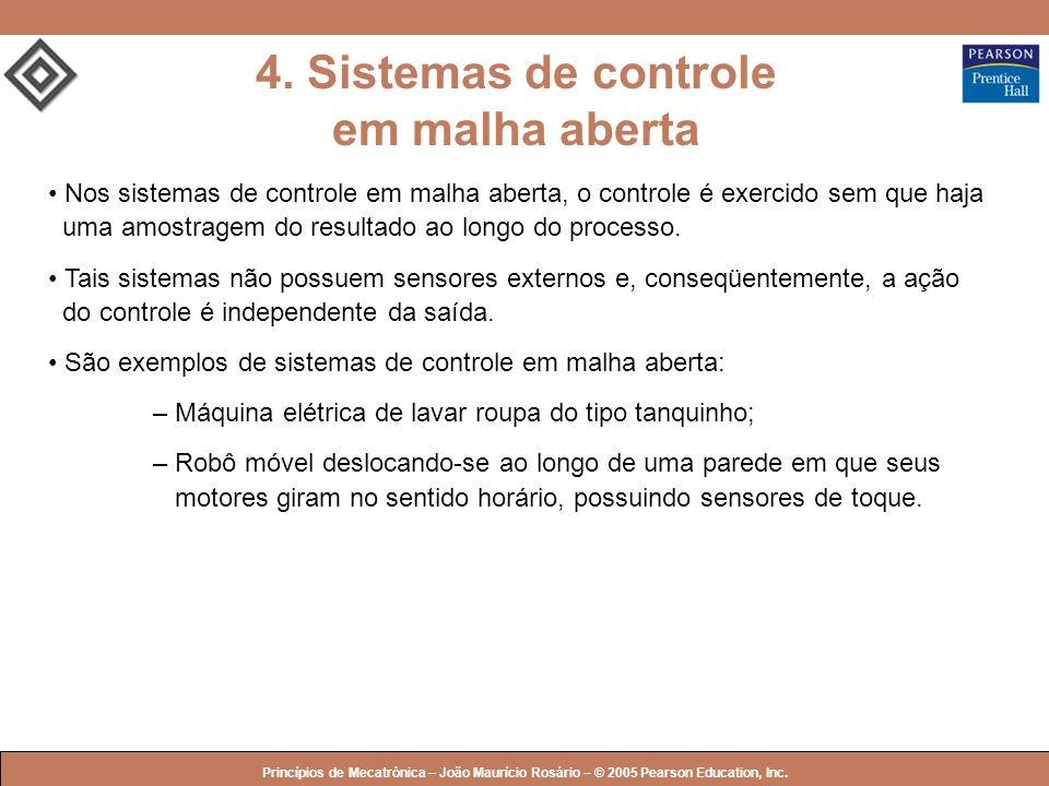 © 2005 by Pearson Education Princípios de Mecatrônica – João Maurício Rosário – © 2005 Pearson Education, Inc. Nos sistemas de controle em malha abert