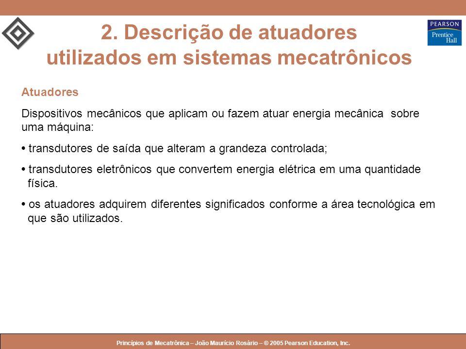 © 2005 by Pearson Education Princípios de Mecatrônica – João Maurício Rosário – © 2005 Pearson Education, Inc. Atuadores Dispositivos mecânicos que ap