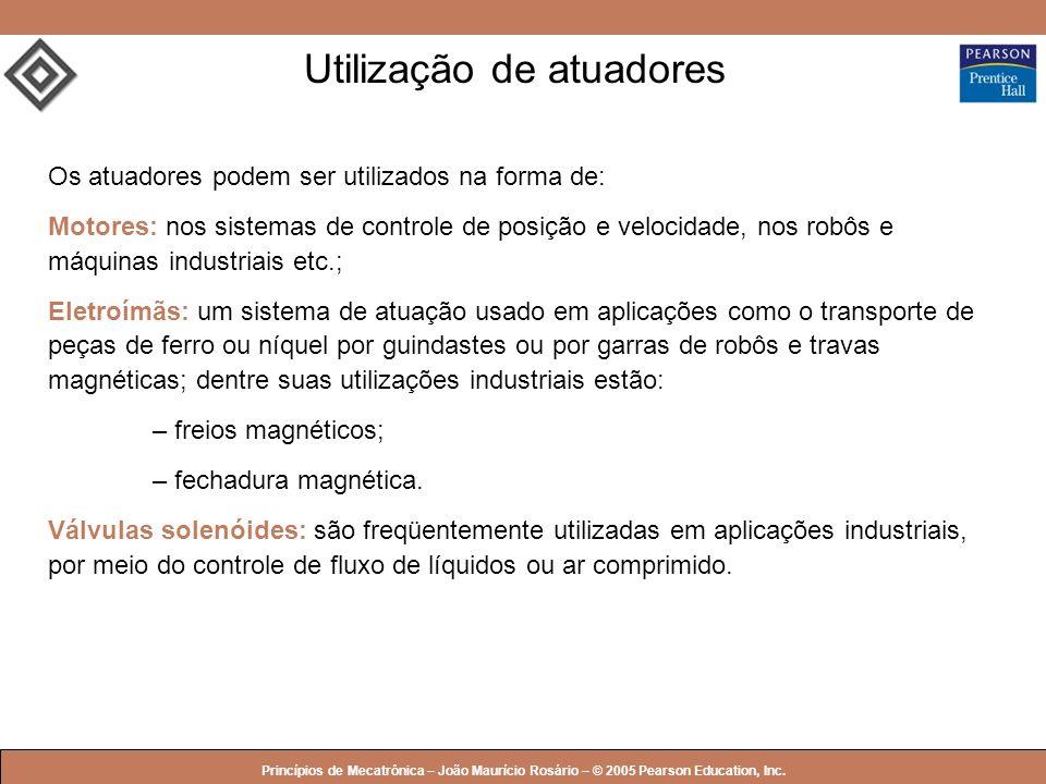 © 2005 by Pearson Education Princípios de Mecatrônica – João Maurício Rosário – © 2005 Pearson Education, Inc. Utilização de atuadores Os atuadores po