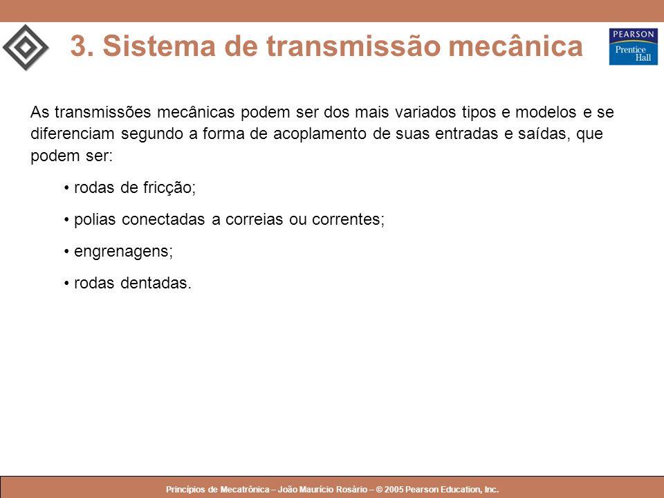 © 2005 by Pearson Education Princípios de Mecatrônica – João Maurício Rosário – © 2005 Pearson Education, Inc. As transmissões mecânicas podem ser dos