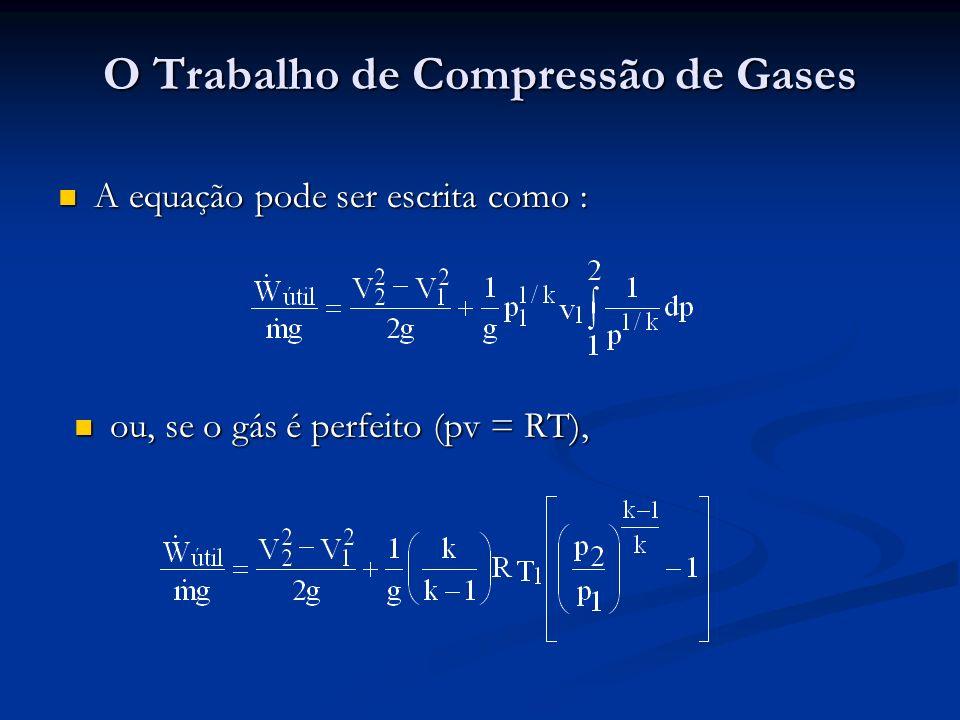 O Trabalho de Compressão de Gases A equação pode ser escrita como : A equação pode ser escrita como : ou, se o gás é perfeito (pv = RT), ou, se o gás