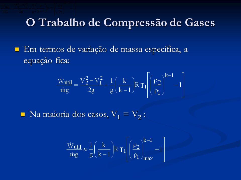 O Trabalho de Compressão de Gases Em termos de variação de massa específica, a equação fica: Em termos de variação de massa específica, a equação fica