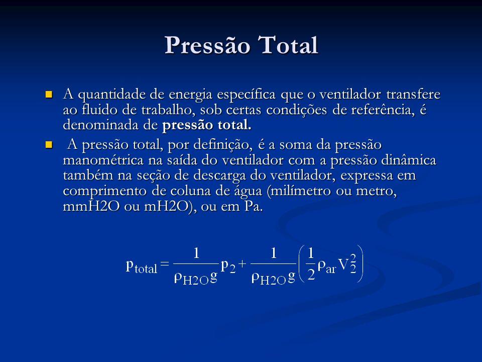 Pressão Total A quantidade de energia específica que o ventilador transfere ao fluido de trabalho, sob certas condições de referência, é denominada de